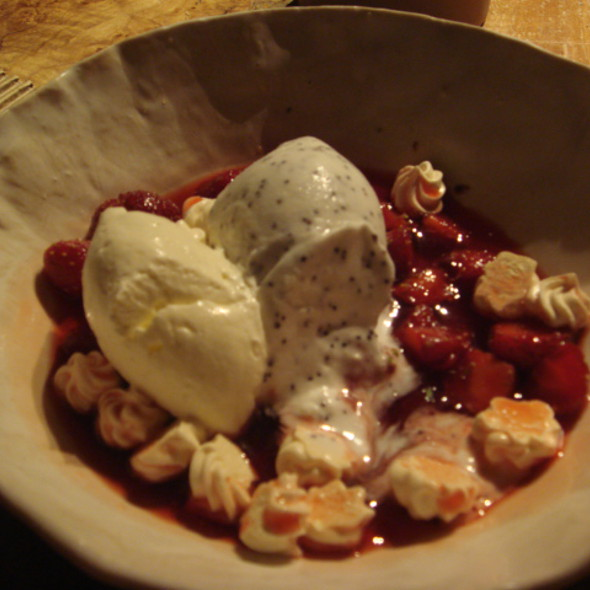 Strawberries with Mint, meringues and Lemon/poppyseed Sorbet @ ABC Kitchen