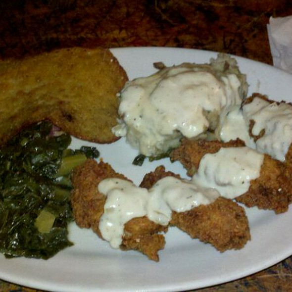 Country Fried Wings Collard Greens, Smashed Potatoes, and Hoecake @ The Rookery