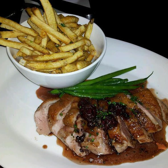 Roasted Brome Lake Duck Breast With Cassis And Pomme Frites Fried In Duck Fat @ Brasserie