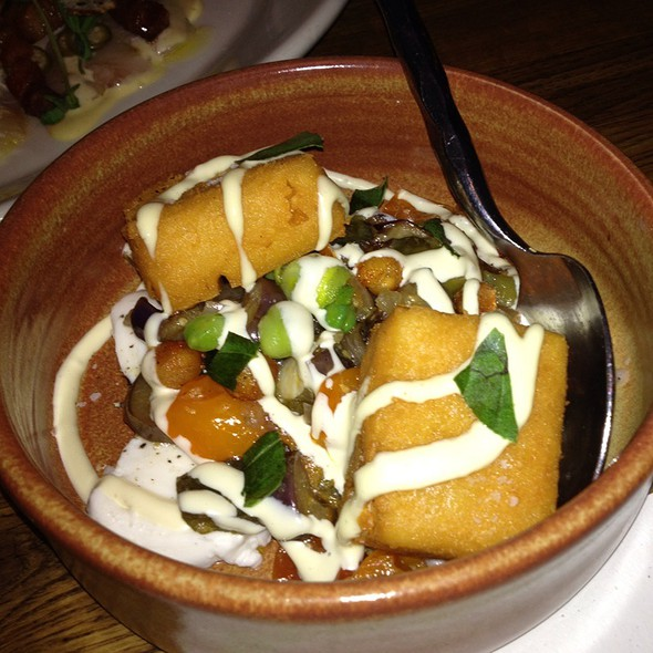 Chickpea Fritters With Eggplant Caponata And Mozzarella @ The Girl And The Goat