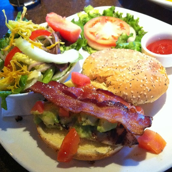Grilled Chicken Burger With Avocado Salsa, Tomato, And Bacon @ Milestones