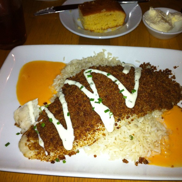 Andouille-Crusted Catfish with Cayenne Butter Sauce and Chive Aioli @ Boatwright's Dining Hall