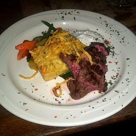 Buffalo Tenderloin with Blue Cheese macaroni