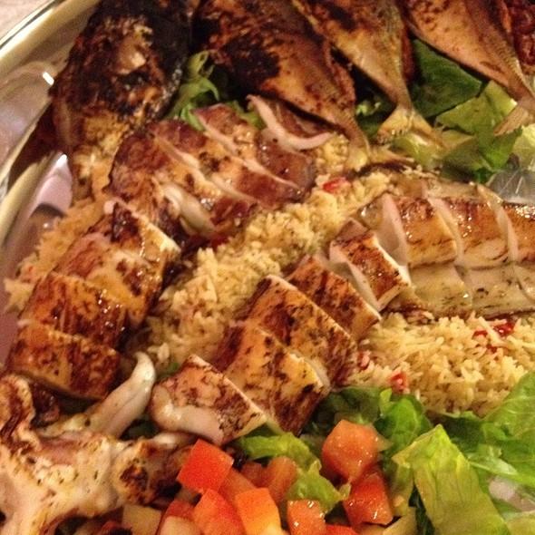 Bbq Calamari & Fish With Pilaf Rice @ Brinj