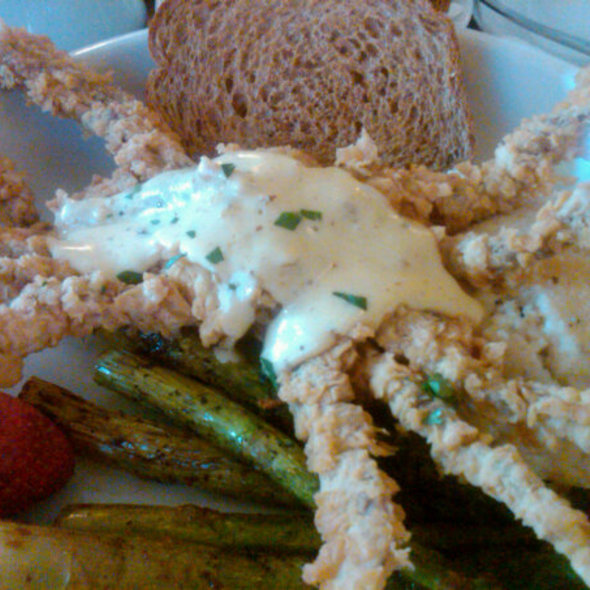 Fried Softshell Crab with Creole Hollandaise over Smothered Grits @ The Country Club