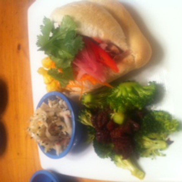 Curried pork banh mi with a trio of salads. @ Supper Club by Sean Welker
