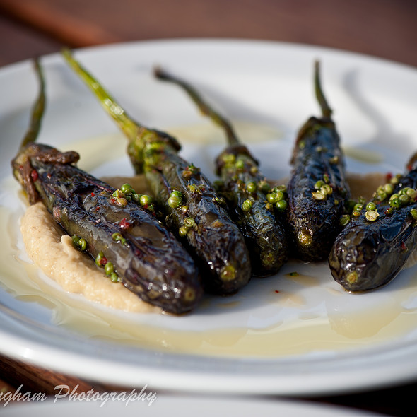 Oven Roasted Fingerling Eggplant with green coriander, lemon and olive oil @ Kitchen Door