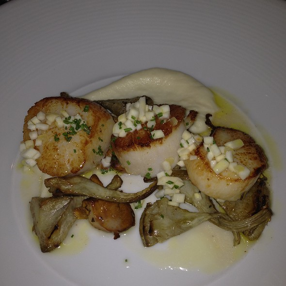 Seared Scallops with celery root relish, artichokes, chanterelles - Trace, San Francisco, CA