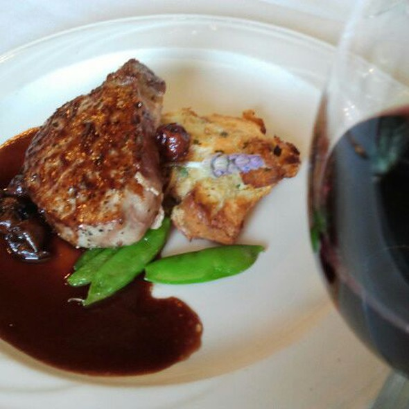 Grilled pork eye rib w/savory wild mushroom & leek bread pudding @/bing cherry port wine sauce @ Cafe Champagne @ Thornton Winery