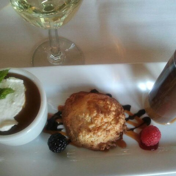 Salted caramel butterscotch, coconut almond cookie and warm sipping chocolate w/cinnamon creme @ Cafe Champagne @ Thornton Winery