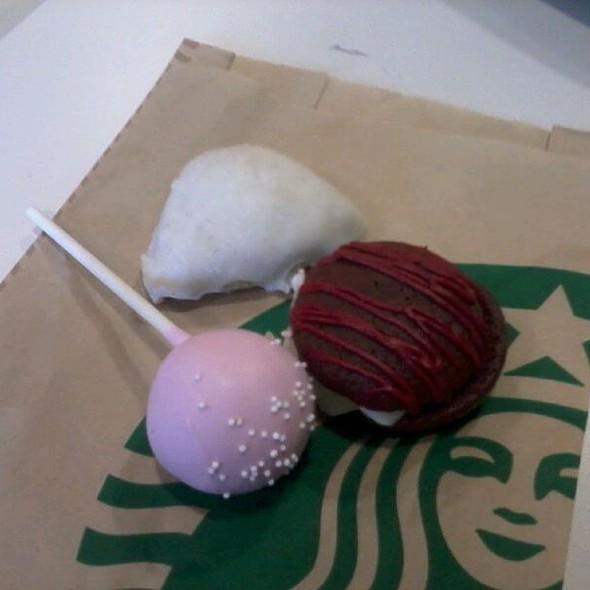 Mini Red Velvet Whoopie Pies, Petite Vanilla Bean Scone, and Starbucks Birthday Cake Pop  @ Starbucks Coffee