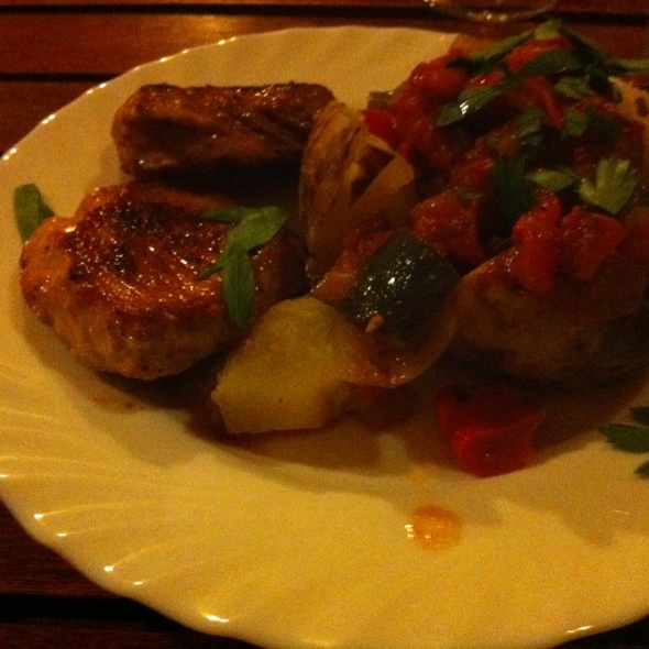 Red Marinated Lamb With Baked Potatoe And Peperonata @ HUT