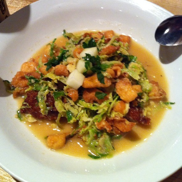 Brussel Sprouts With Chicken Sausage @ Momofuku Noodle Bar