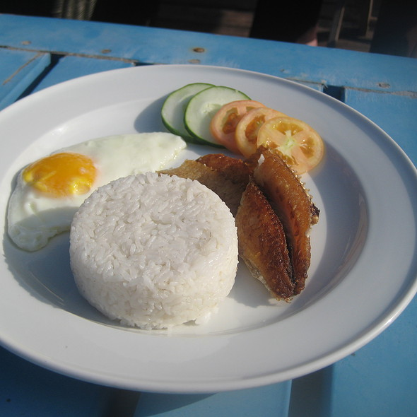 Fried Flying Fish, Egg and Garlic Fried Rice @ Fundacion Pacita
