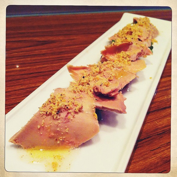 Foie Gras Carpaccio With Aloe Vera, White Raisins, Brioche And Yuzu Crumble @ The White Fox