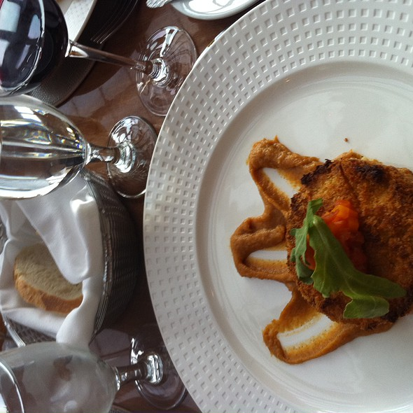 Alaskan Crab Cake with Butternut Squash Salsa & Sweet Potato mash @ Vanderbilt Grace Hotel