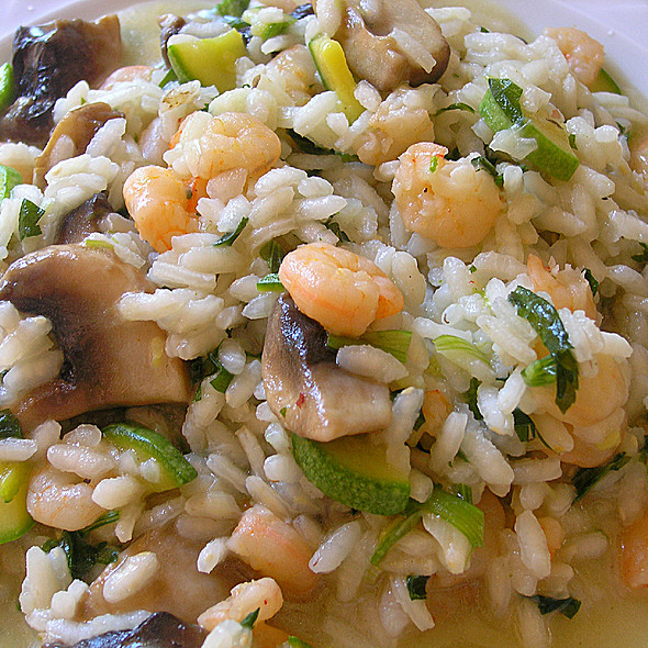 Risotto with Shrimp, Wild Mushroom, Courgette and Parsley, doused in Ouzo @ The House of Fun (Crete)