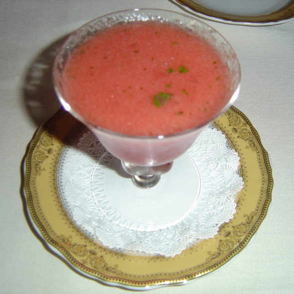 Chilled Watermelon & Champagne Soup - Bohanan's Prime Steaks and Seafood, San Antonio, TX