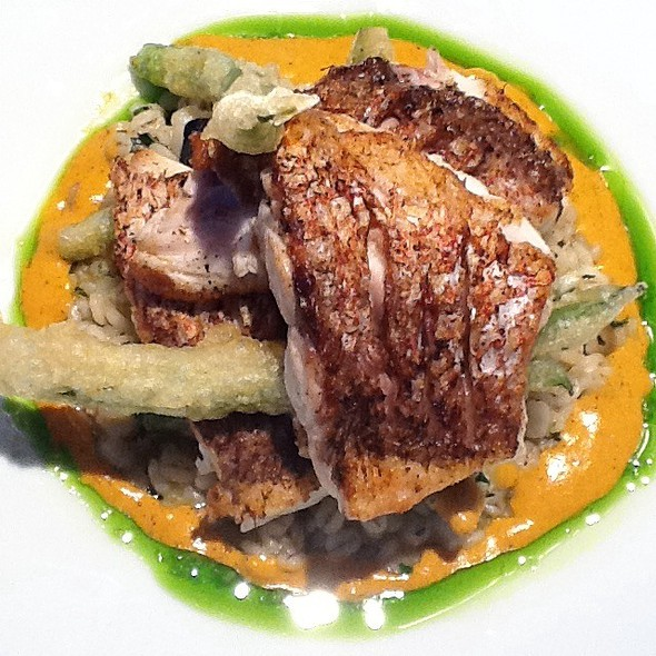 Pan Roasted Red Snapper + Red Pepper Puree @ Benjy's On Washington