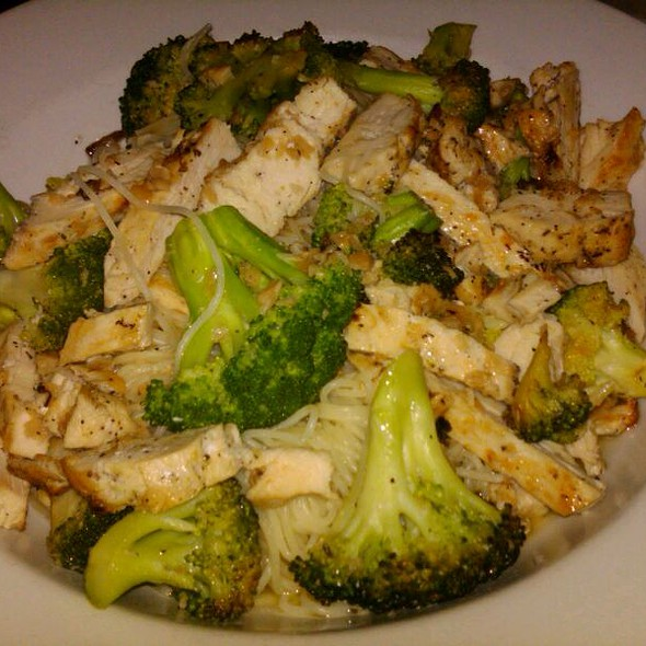Angel Hair Pasta With Broccoli And Grilled Chicken In A Light Garlic And Olive Oil  @ italian village