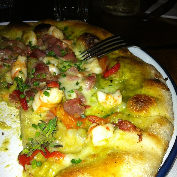 Prawn, Prosciutto, Salsa Verde & Mozzarella Pizza @ Little Creatures Dining Hall