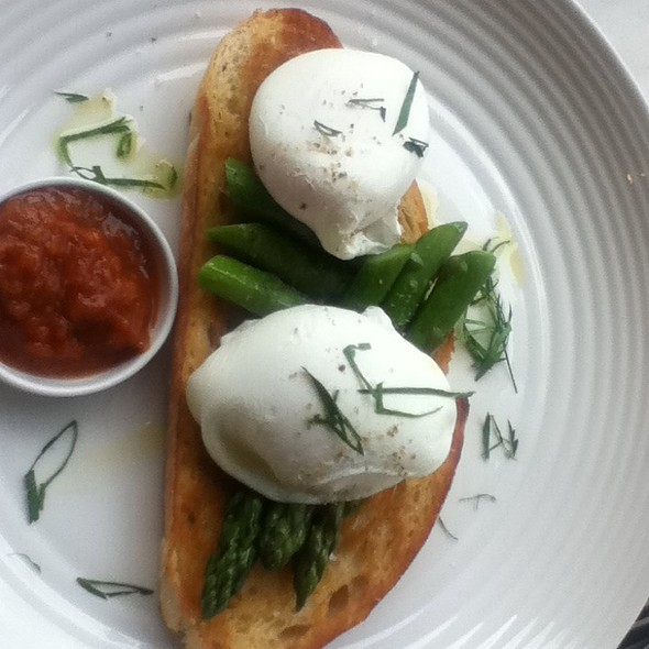 Poached Eggs With Asparagus And Relish On Sourdough @ Old Street Cafe, Darlington