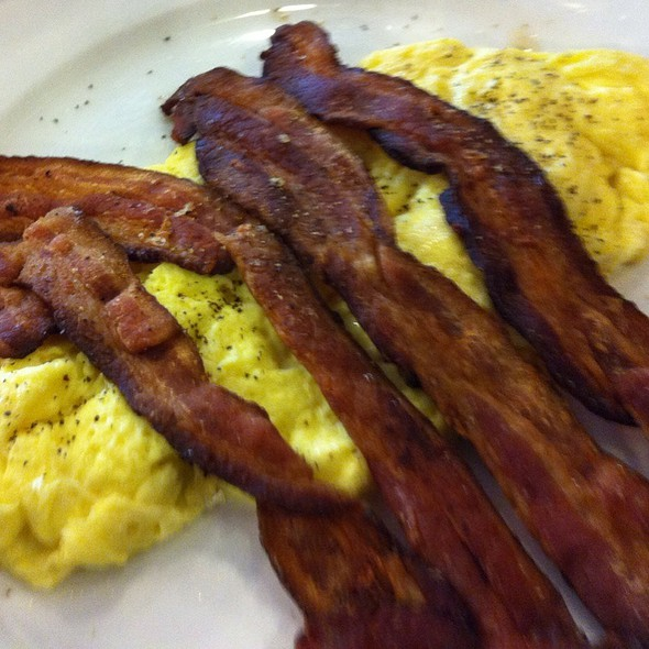 scrambled eggs and. bacon