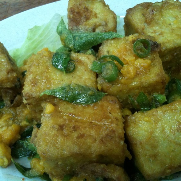 Fried tofu with salted egg yolk