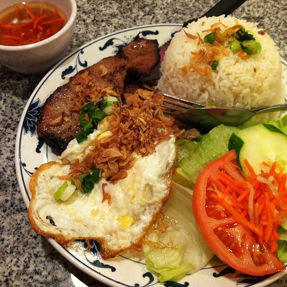B16. Grilled Pork Chop, Shredded Pork, And A Fried Egg With Steamed Rice @ New Saigon Restaurant