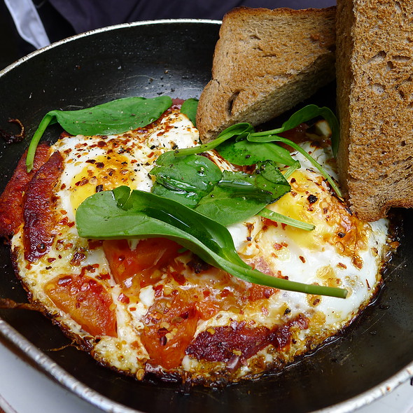 Baked Eggs with Sujuk, Danish Feta, Tomato, and Hint of Chilli @ Circa Espresso