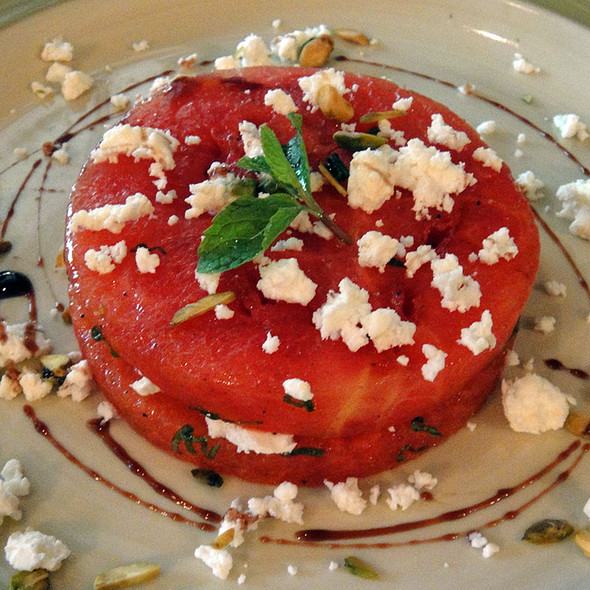 Watermelon with feta and pistachio @ Pali Village Cafe