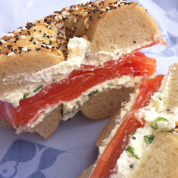 Classic Gaspe W/ Scallion Cream Cheese On An Everything Bagel @ Russ & Daughters