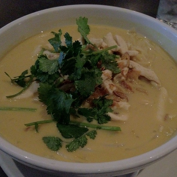 Spicy Coconut Chicken Turmeric-Coconut Broth, Rice Noodles, Chicken, Bean Sprouts, Cilantro, Fried Shallots, Lime @ Republic Restaurant