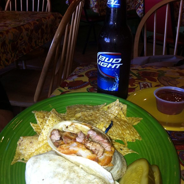 Steak Wrap And A Bud Light  @ Fish Head Cantina