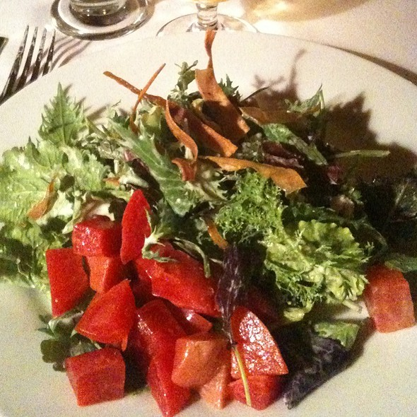 Local Greens & Herbs, Chioggia Beets, Crispy Parsnips And Chevre W/ Horseradish Vinaigrette  @ Farmhouse Tap & Grill