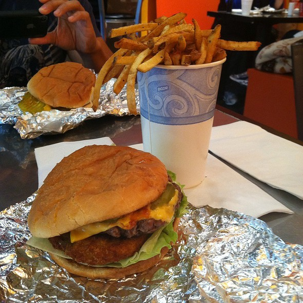 Cheeseburger With Fried Green Tomato And Fries @ Only Burger