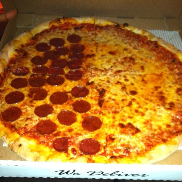 1/2 Pepperoni, 1/2 Mozzarella Pizza @ LONG ISLAND MIKE'S PIZZA & DELIVERY TIERRASANTA