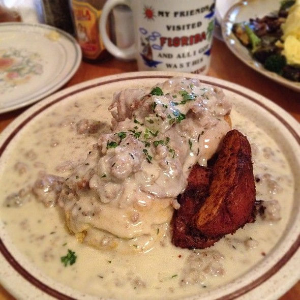 biscuits & gravy with roast pork. @ Arleta Library Bakery Cafe