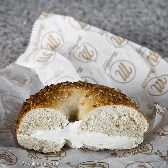 Garlic and Sesame Bagel and Cream Cheese