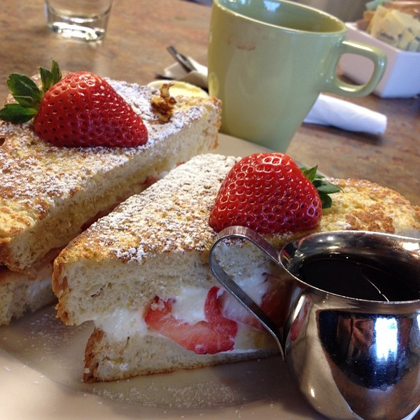 French toast stuffed with strawberry cream cheese and bananas @ Marie Catrib's of Grand Rapids