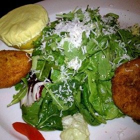 Fried Goat Cheese With Field Greens
