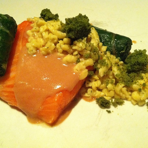 Steelhead Trout,Bearnaise Spaetzle,Broccoli Rabe,Breakfast Sausage @ wd~50