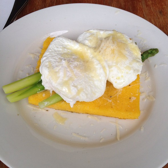 Baked Polenta With Asparagus, Parmesan Cheese, Poached Eggs With Truffle Oil
