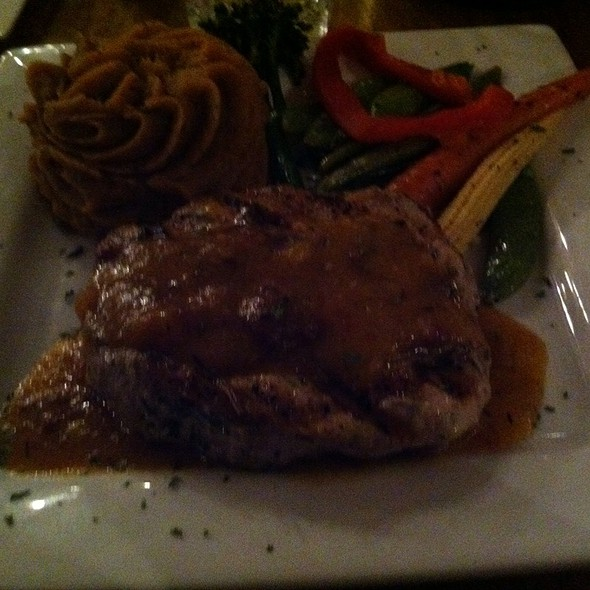Grilled Pork Chop with Sweet Potatoes - Twin Owls Steakhouse, Estes Park, CO