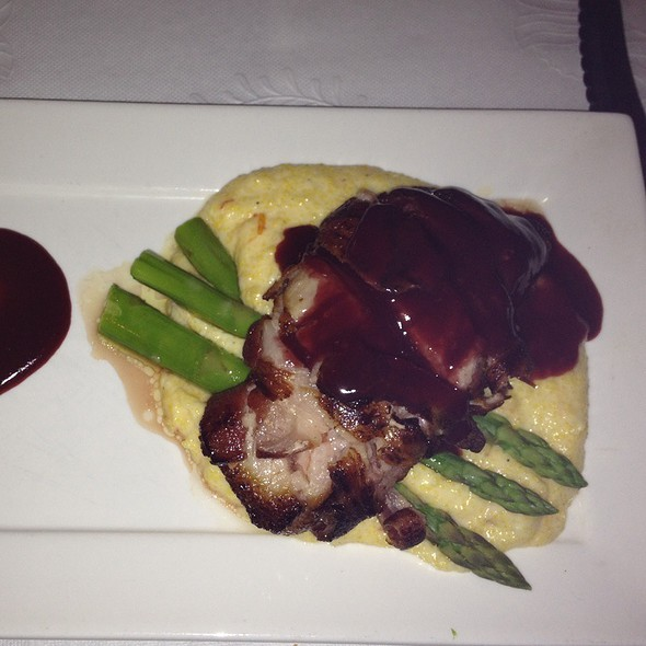 Bacon Wrapped Duck Breast On Creamy Polenta With White Asparagus @ The Broiler Steakhouse