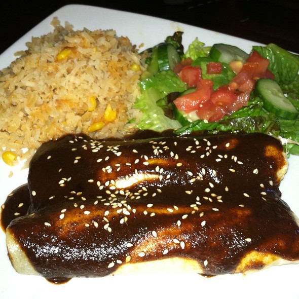 """De Mole"" Two Corn Tortillas Filled With Chicken And Oaxaca Cheese, Mole Poblano Sauce Served With Mexican Rice And Mixed Green Salad - Santa Fe Mexican Grill & Bar - Wilmington, Wilmington, DE"