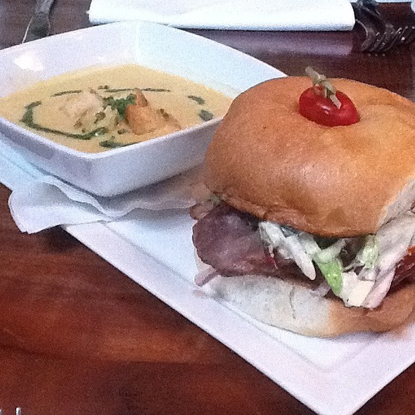 Shiner Bock Soup + House Cured Pork Sandwich @ Benjy's On Washington