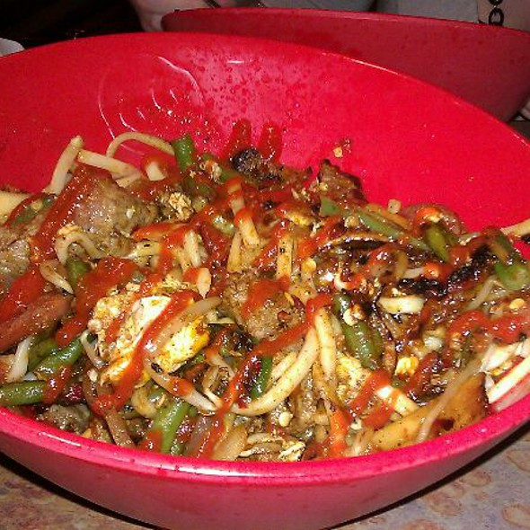 Stir Fry Steak & Sausage With Noodles @ Genghis Grill - The Mongolian Stir Fry