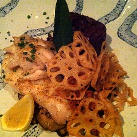 White Fish With Lotus Root Chips Thai Purple Rice And Mushrooms