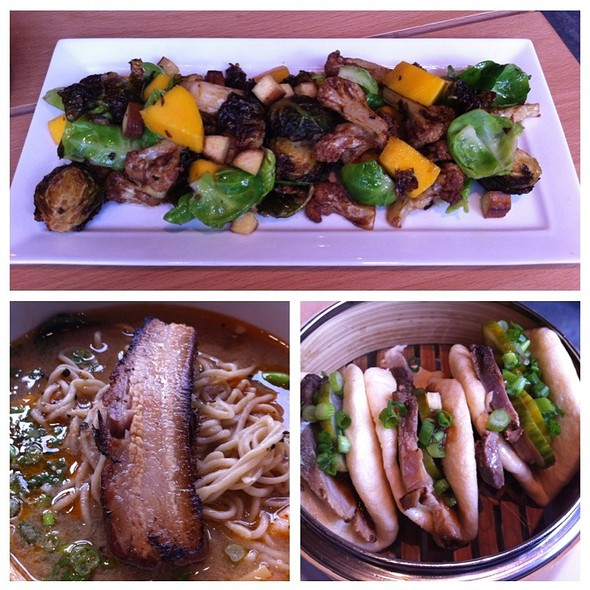 Brussel Sprout Salad, Seafood Ramen, Char Siu Buns @ Boke Bowl